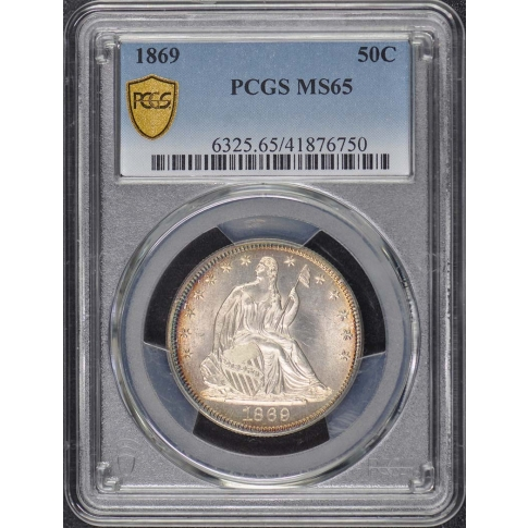 1869 50C Liberty Seated Half Dollar PCGS MS65
