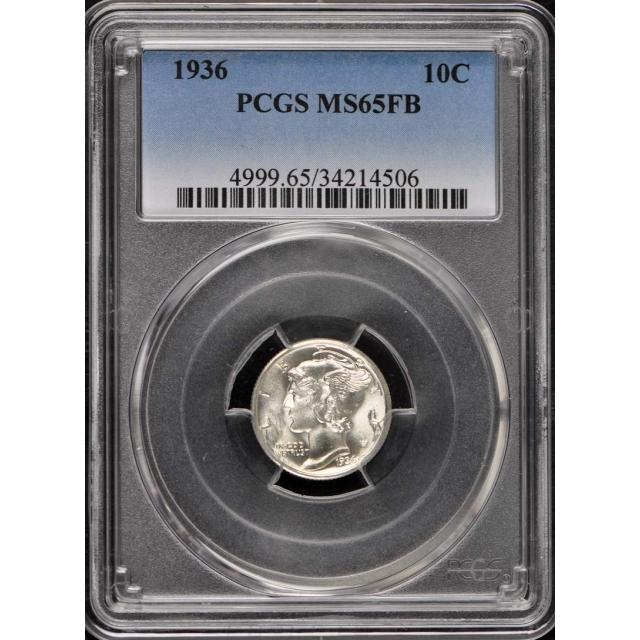 1936 10C Mercury Dime PCGS MS65FB