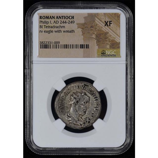 Philip I, AD 244-249 ROMAN ANTIOCH BI Tetradrachm NGC XF40