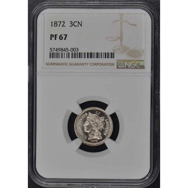1872 Three Cent Piece - Copper Nickel 3CN NGC PR67