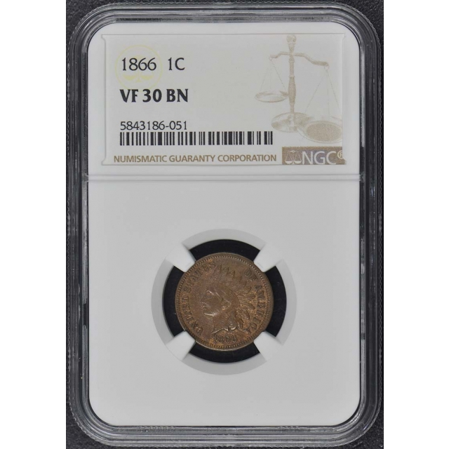 1866 Bronze Indian Cent 1C NGC VF30BN