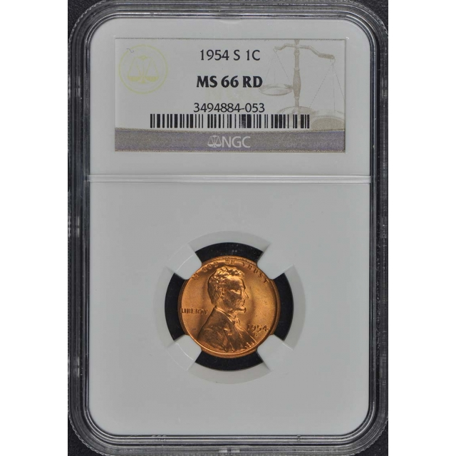 1954-S Wheat Reverse Lincoln Cent 1C NGC MS66RD