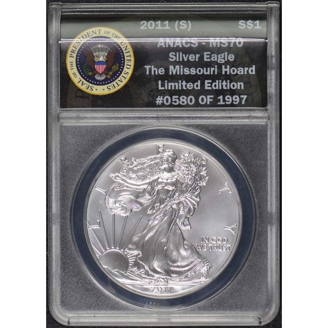 2011 to 2014 (S) $1 Silver Eagle Set ANACS MS-70 Missouri Hoard 4 Coins