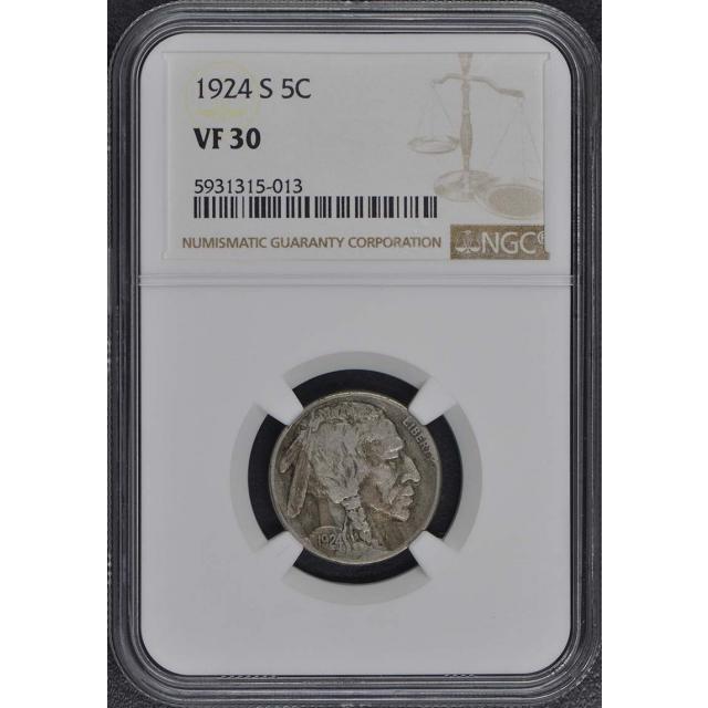 1924-S Buffalo Nickel Type 2 5C NGC VF30