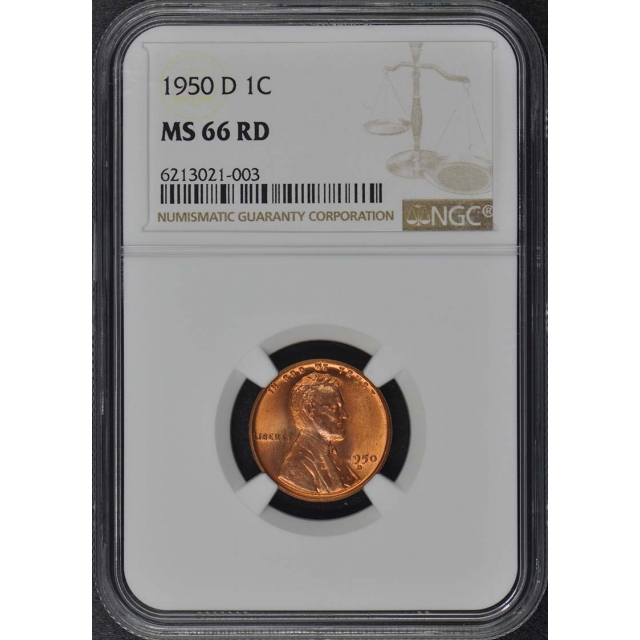 1950-D Wheat Reverse Lincoln Cent 1C NGC MS66RD