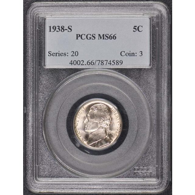 1938-S 5C Jefferson Nickel PCGS MS66