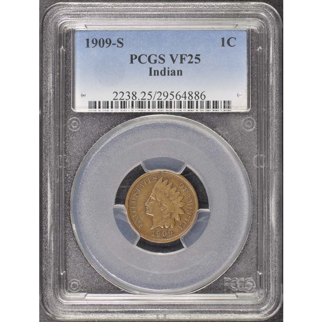 1909-S 1C Indian Indian Cent - Type 3 Bronze PCGS VF25BN
