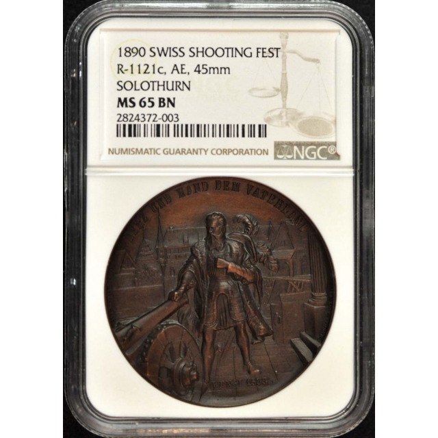 1890 Swiss Shooting Fest Ngc MS65 BN Solothurn