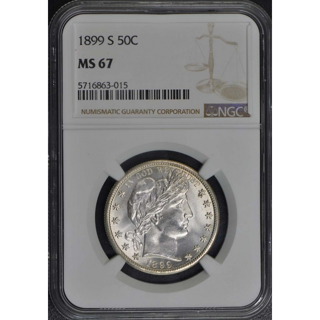 1899-S Barber Half Dollar 50C NGC MS67