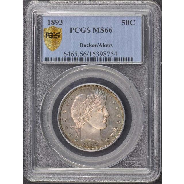 1893 50C Barber Half Dollar PCGS MS66 Ducker/Akers