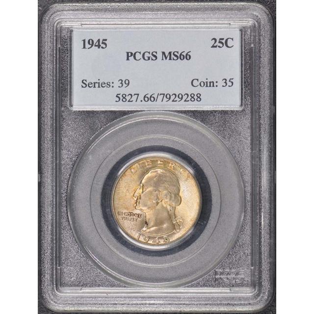 1945 25C Washington Quarter PCGS MS66