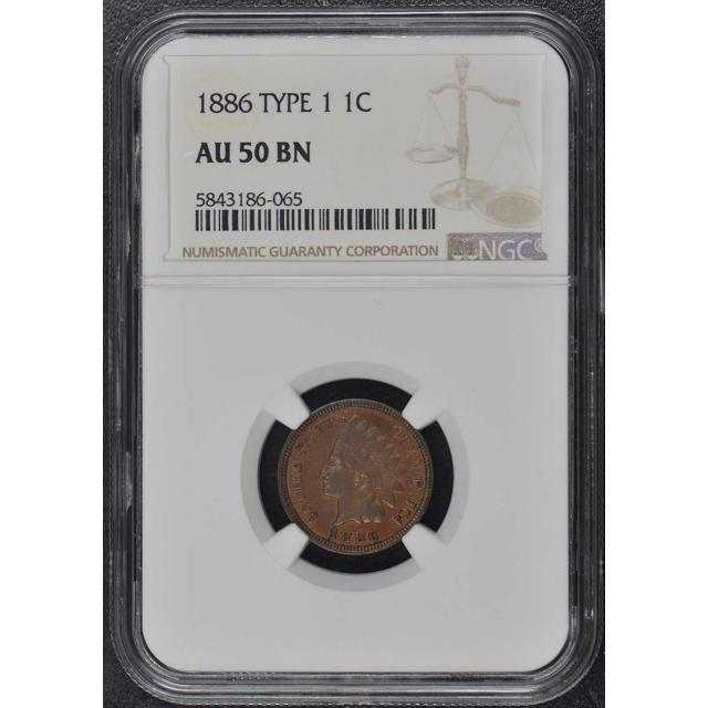 1886 TYPE 1 Bronze Indian Cent 1C NGC AU50BN