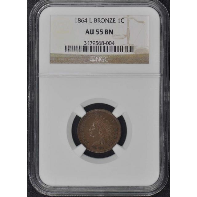 1864 L Bronze Indian Cent 1C NGC AU55BN