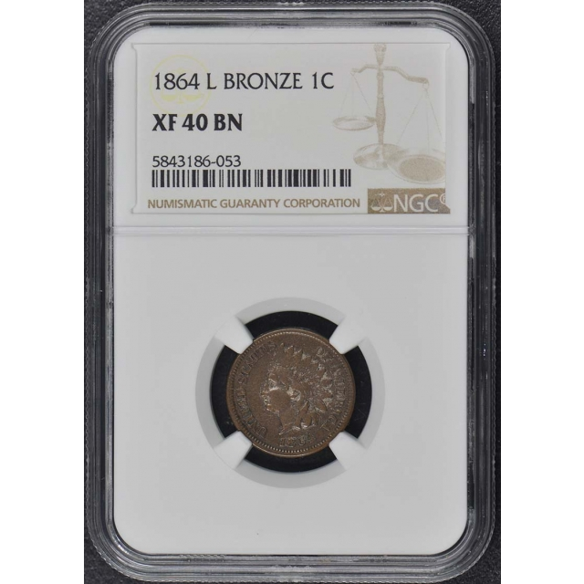 1864 L Bronze Indian Cent 1C NGC XF40BN Huge Rotation