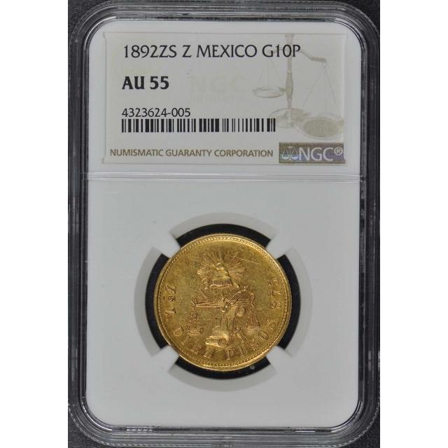 1892ZS Z MEXICO G10P NGC AU55