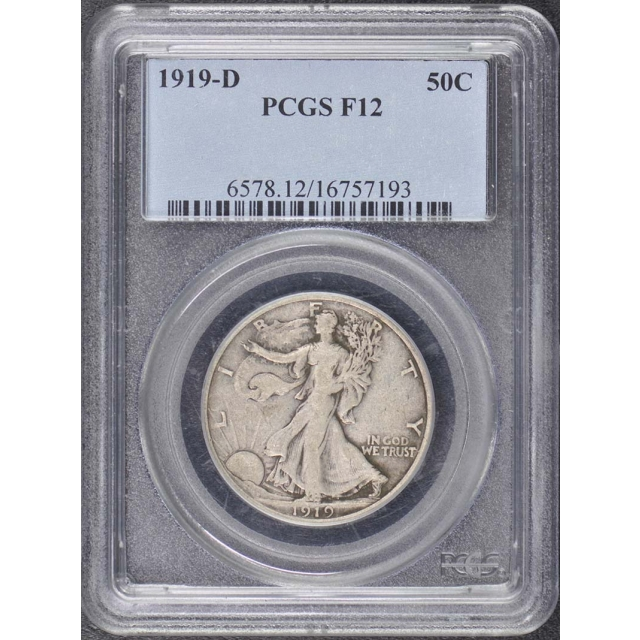 1919-D 50C Walking Liberty Half Dollar PCGS F12