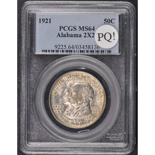 ALABAMA 2x2 1921 50C Silver Commemorative PCGS MS64