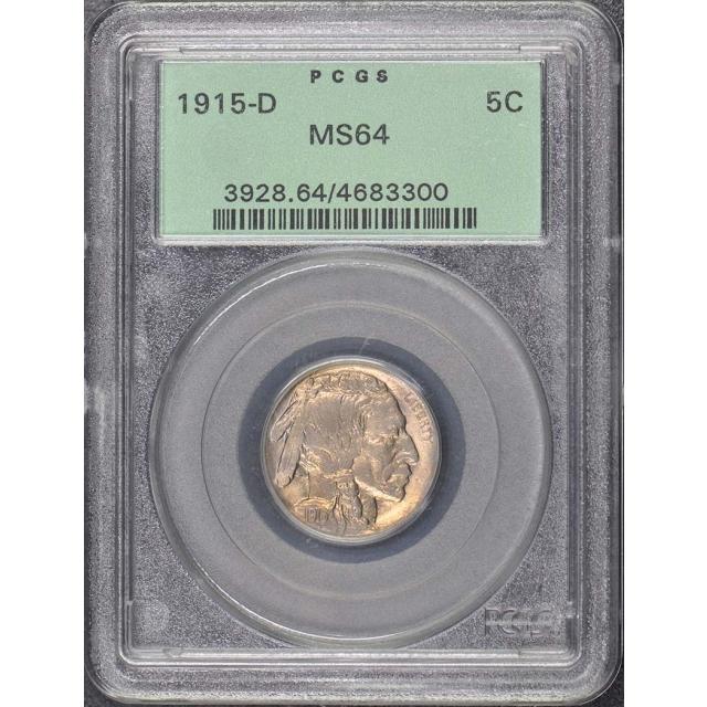 1915-D 5C Buffalo Nickel PCGS MS64 OGH
