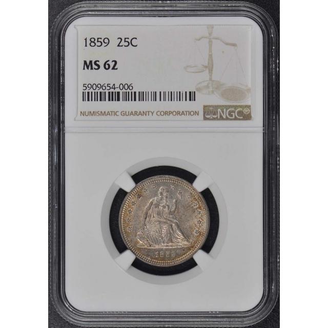 1859 No Motto Seated Liberty Quarter 25C NGC MS62