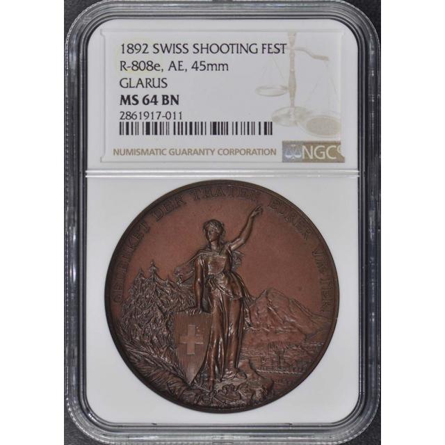 1892 SWISS SHOOTING R-808e, AE, 45mm FEST NGC MS64BN