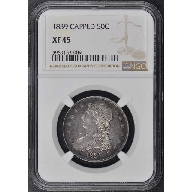1839 CAPPED Capped Bust, Reeded Edge 50C NGC XF45