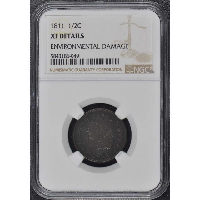 1811 Classic Head Half Cent 1/2C NGC XF DetailsBN