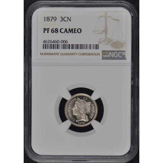 1879 Three Cent Piece Copper Nickel 3CN NGC PR68CAM