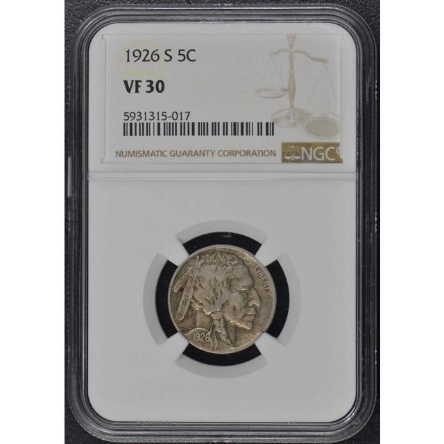 1926-S Buffalo Nickel Type 2 5C NGC VF30
