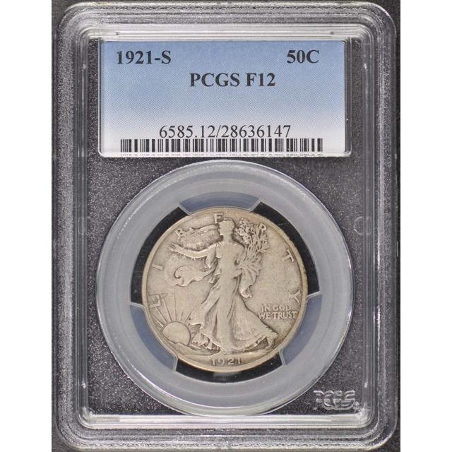 1921-S 50C Walking Liberty Half Dollar PCGS F12