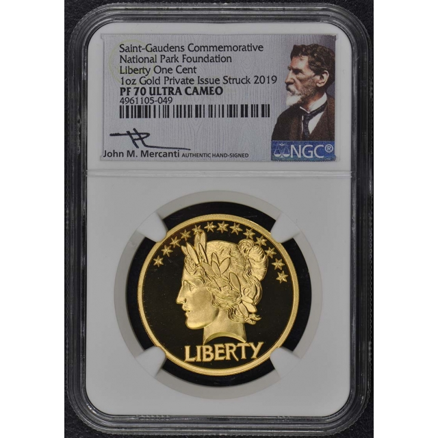 2019 National Park Gold Silver 2pc 1oz Liberty One Cent NGC PF70UC Mercanti