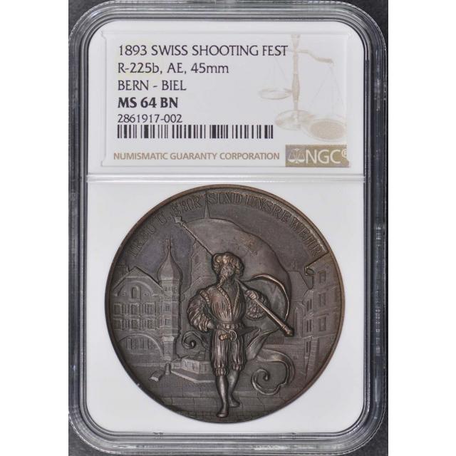 1893 SWISS SHOOTING R-225b, AE, 45mm FEST NGC MS64BN