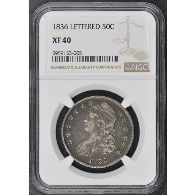 1836 LETTERED Capped Bust, Lettered Edge 50C NGC XF40