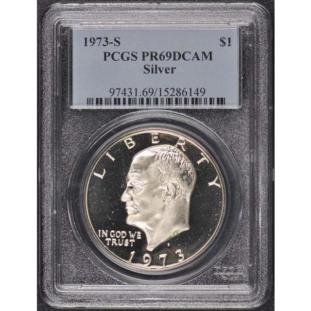 1973-S $1 Silver Ike Dollar - Type 2 Silver PCGS PR69DCAM