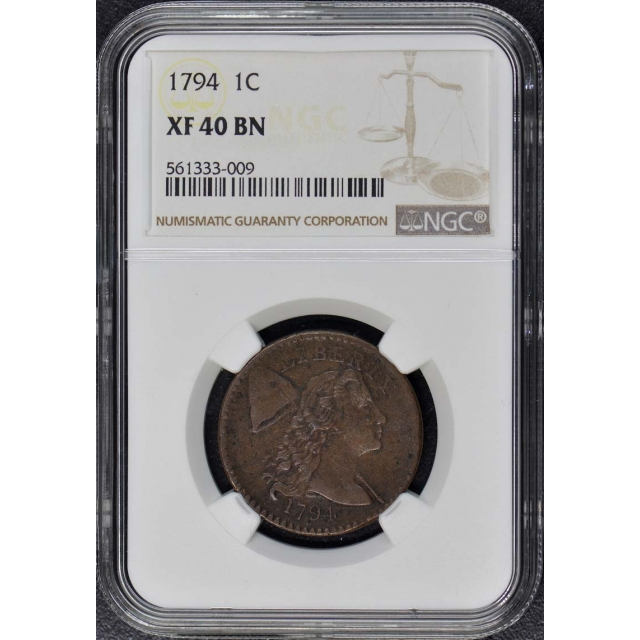 1794 Large Cent NGC XF 40 BN Head of 94
