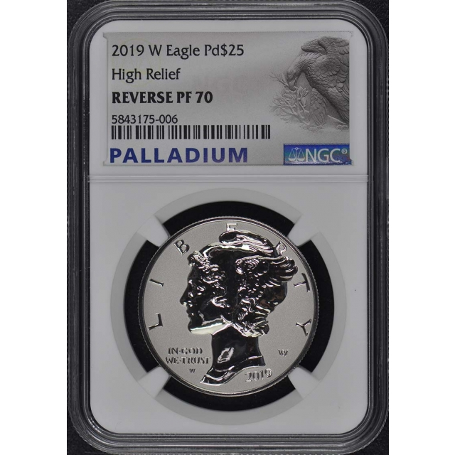 2019-W Palladium Eagle $25 High Relief NGC Reverse PF70