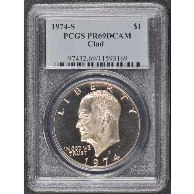 1974-S $1 Clad Ike Dollar - Type 1 Clad PCGS PR69DCAM
