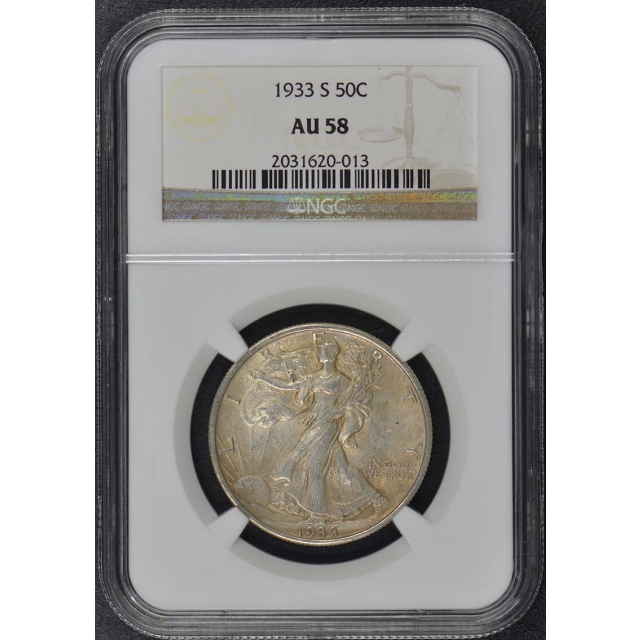 1933-S Walking Liberty Half Dollar 50C NGC AU58
