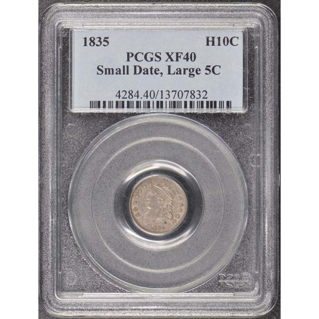 1835 H10C Small Date, Large 5C Capped Bust Half Dime PCGS XF40