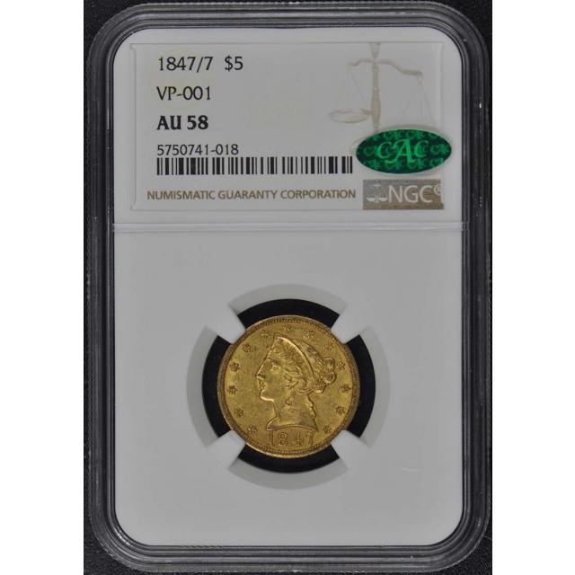 1847/7 Half Eagle - No Motto $5 NGC AU58 (CAC)