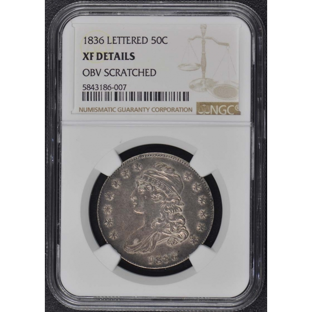 1836 LETTERED Capped Bust, Lettered Edge 50C NGC XF Details
