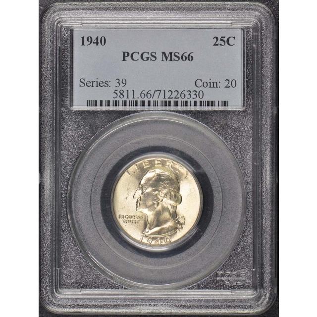 1940 25C Washington Quarter PCGS MS66