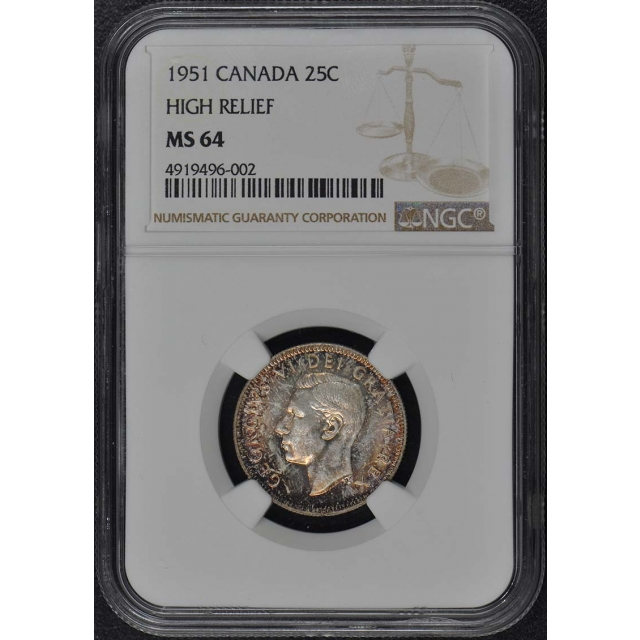 1951 CANADA HIGH RELIEF 25C NGC MS64