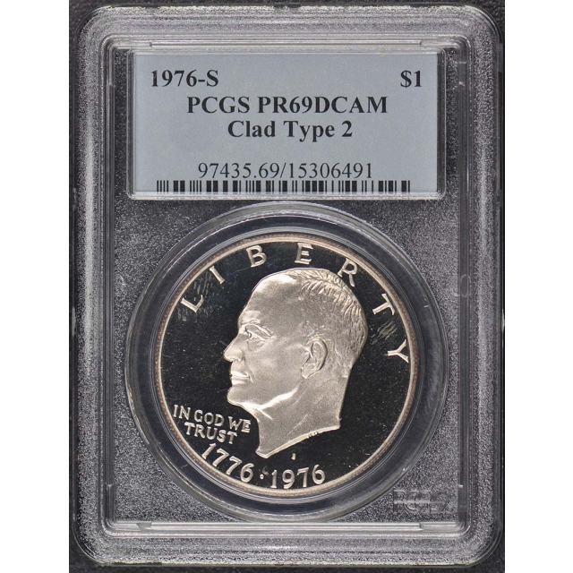 1976-S $1 Clad Type 2 Ike Dollar Bi-Centennial Reverse PCGS PR69DCAM