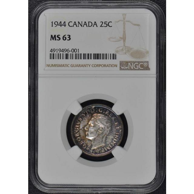 1944 CANADA 25C NGC MS63
