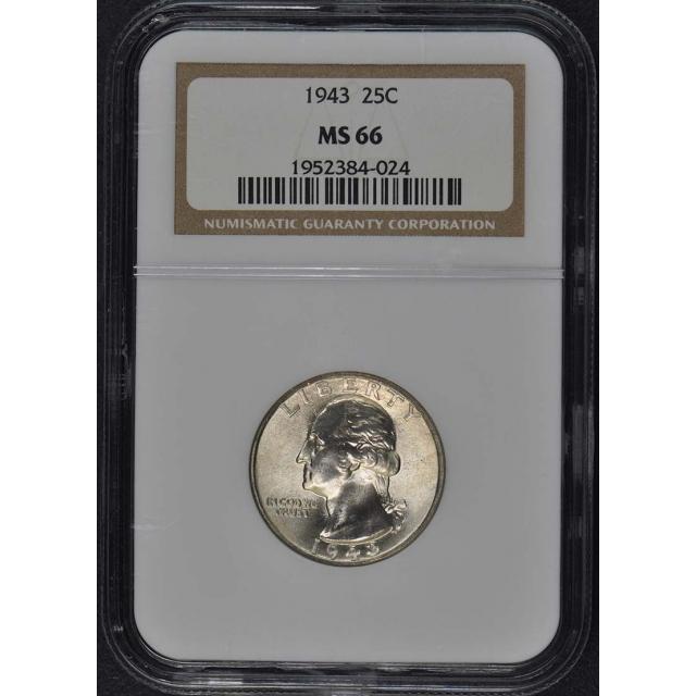 1943 Washington Quarter 25C NGC MS66