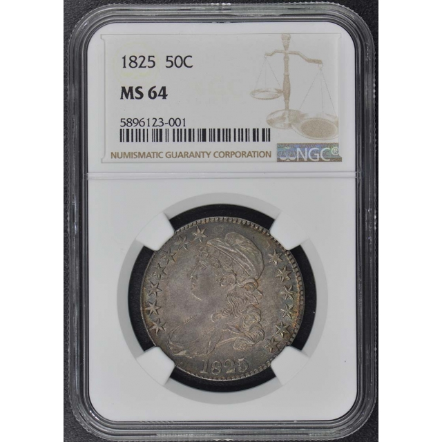 1825 Capped Bust, Lettered Edge 50C NGC MS64
