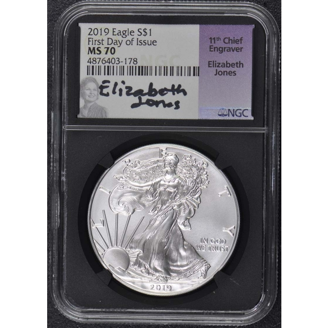 2019 $1 Silver Eagle NGC MS-70 First Day Issue Jones Signed