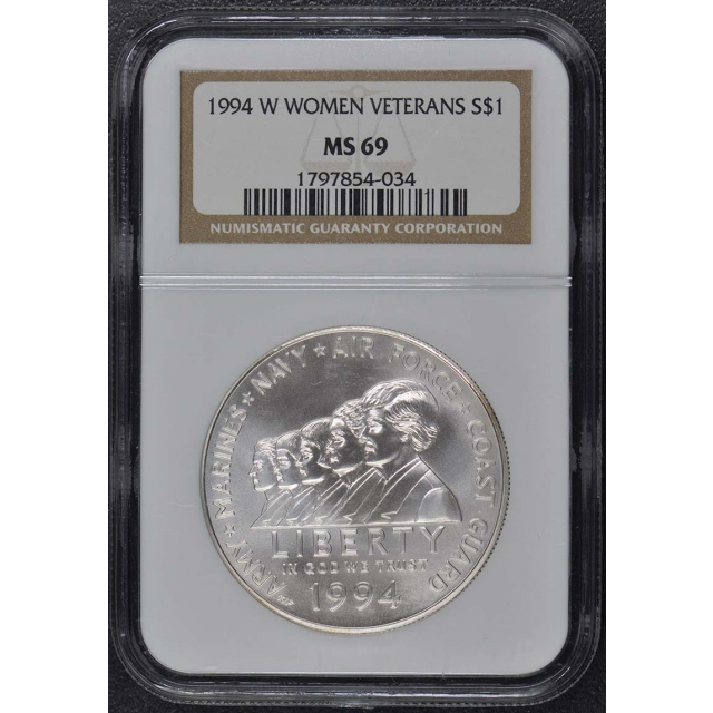 1994 W WOMEN VETERANS Modern Commemorative S$1 NGC MS69
