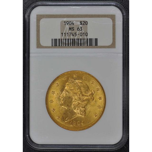 1904 Liberty Double Eagle Type 3 $20 NGC MS63