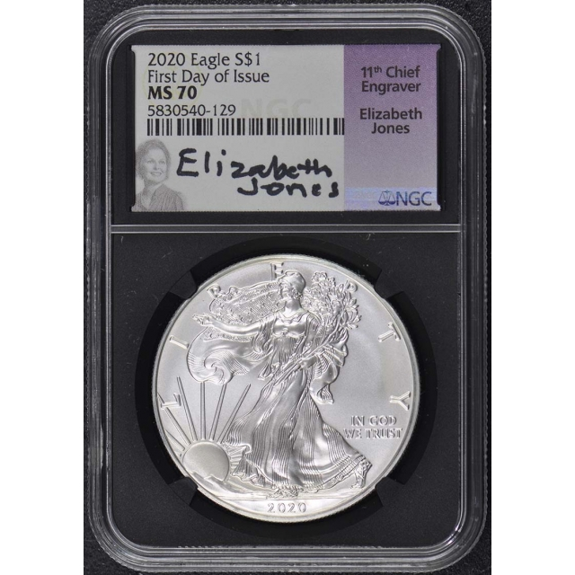 2020 $1 Silver American Eagle NGC MS70 First Day Issue Jones